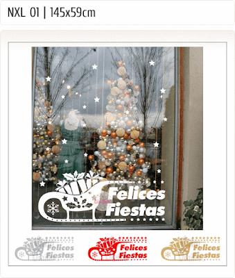 vinilos navidad, vinilos navideños, vinilos fiestas, trineos, regalos, estrellas, vidrieras navideñas