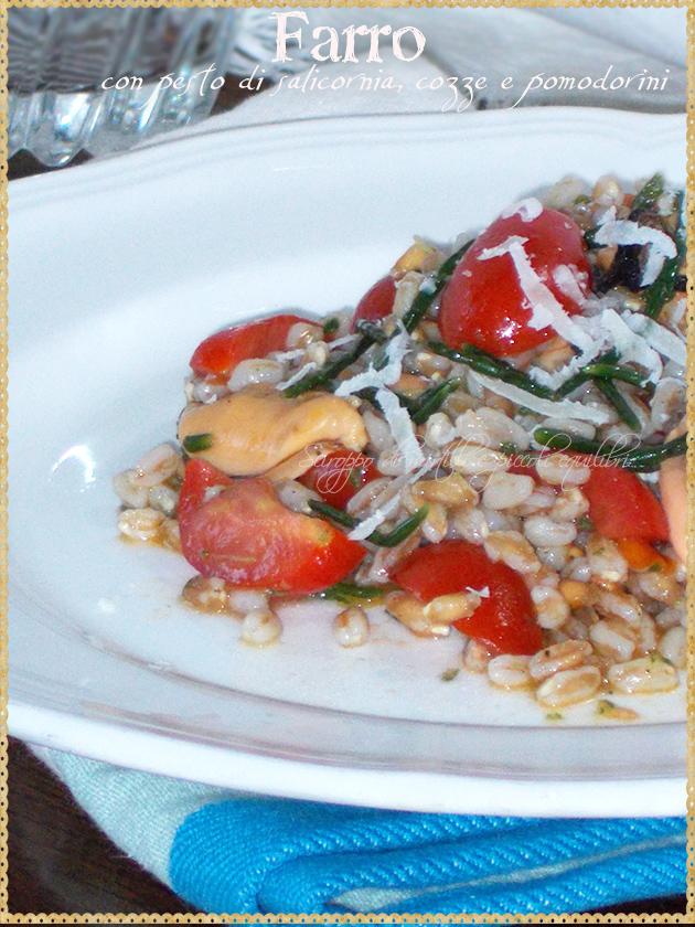 Farro con pesto di salicornia, cozze e pomodorini
