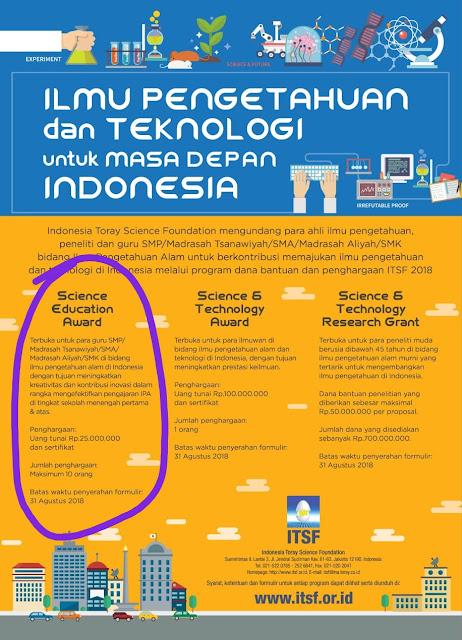 Penghargaan dari Indonesia Toray Foundation Senilai Rp.25 Juta - Rp.100 juta untuk Guru, Peneliti Muda dan Ilmuan