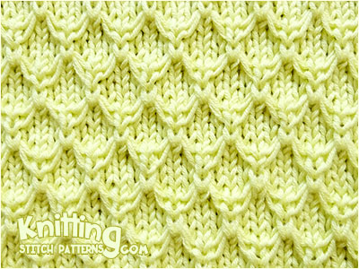 Mock Honeycomb knitting stitch pattern. Used knit and purl sts, slip stitch wyif and knit uls