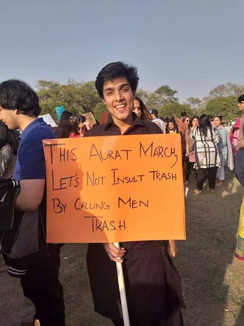 Some bad male-bashing banners at Aurat March Karachi