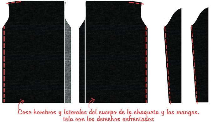 coser chaqueta drapeada
