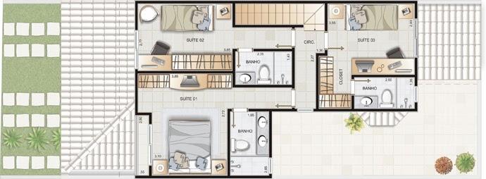 Planta de casa sobrado de 140 m2 plantas de casas for Casa moderna 140 m2