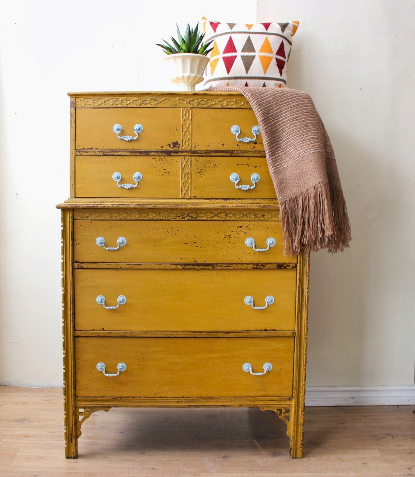 Poppyseed Creative Living Mustard Yellow Tall Boy Dresser