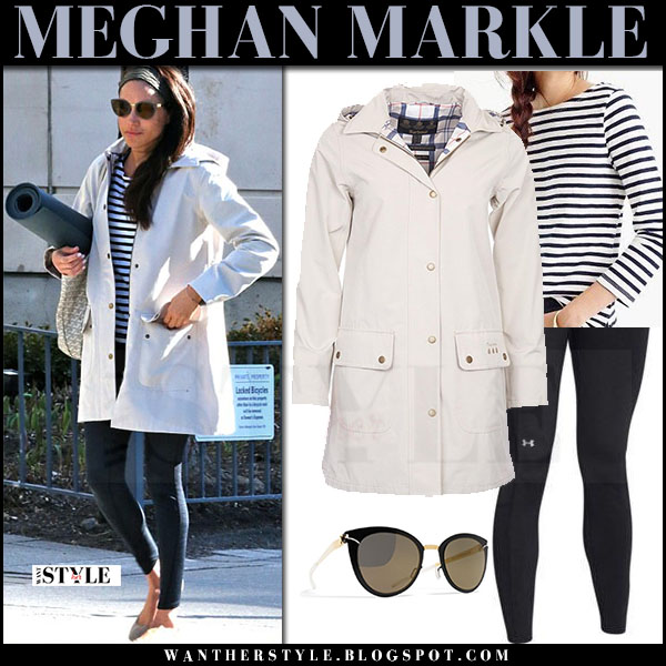 Meghan Markle in cream canvas barbour jacket, striped top and black leggings what she wore april 2017