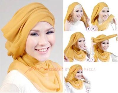 Tutorial Hijab Turban Segi Empat Modern Gaya #17 Zaskia Adya Mecca