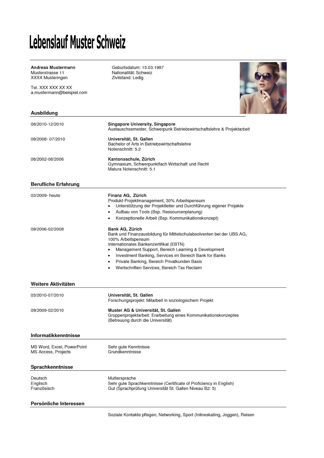 Lebenslauf Muster Schweiz Dokument Blogs