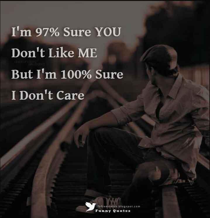 I'm 97% Sure YOU Don't Like ME But I'm 100% Sure I Don't Care