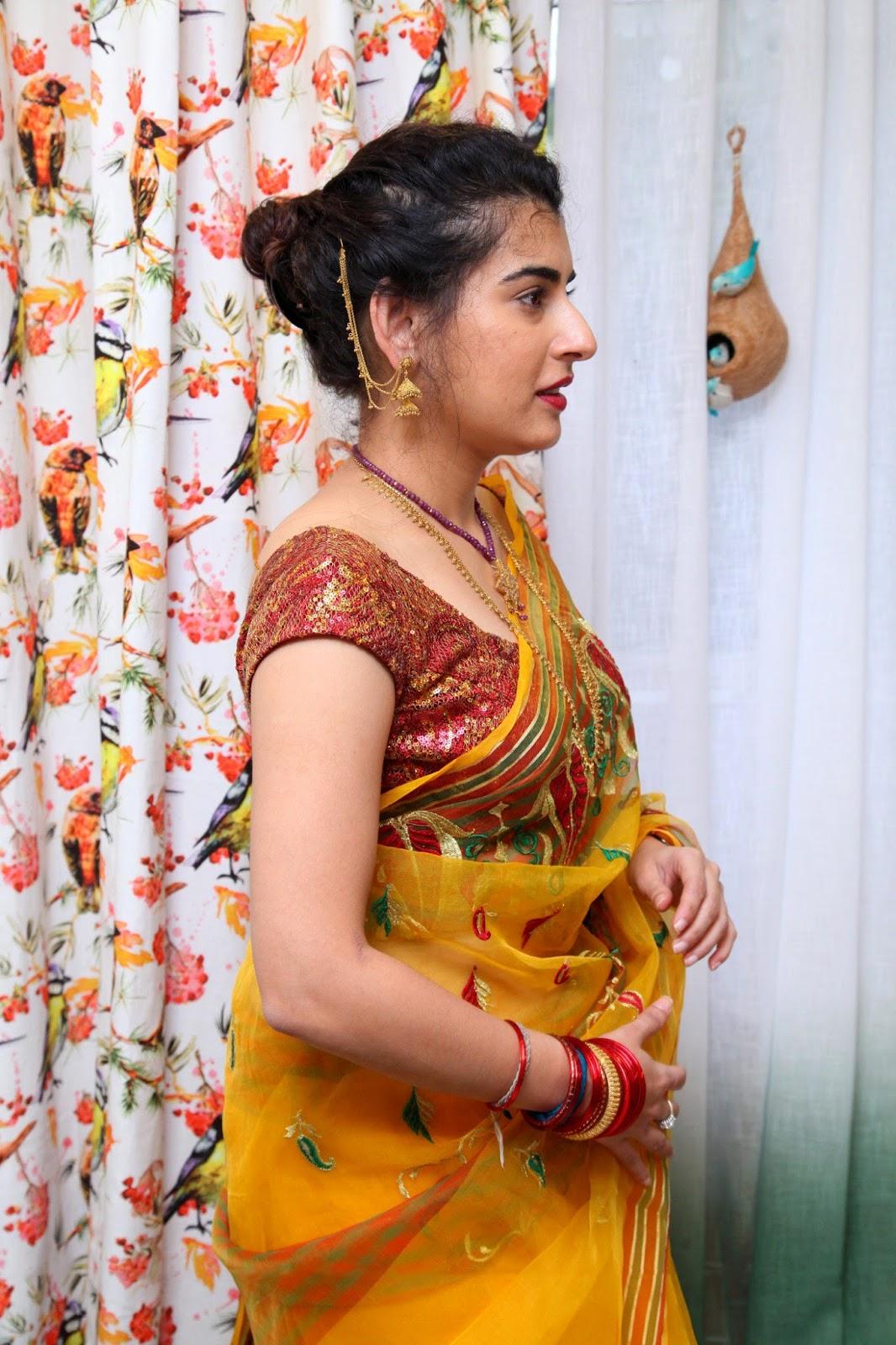 archana veda amazingly so beautiful in yellow saree during ankit studio launch