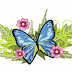 Blue butterfly with flowers embroidery free design #47