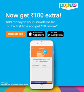 Get Rs.100 Extra With Adding Rs.500 To Pockets Wallet by ICICI Bank