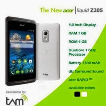 Harga HP Acer Liquid Z205 Tahun Ini Lengkap Dengan Spesifikasi Dual