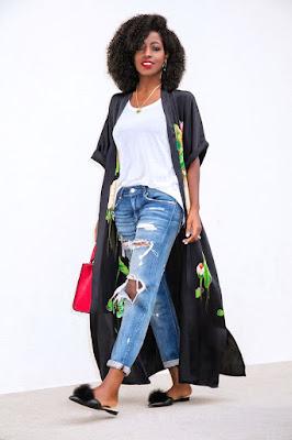 Kimono nero lungo foto Pinterest