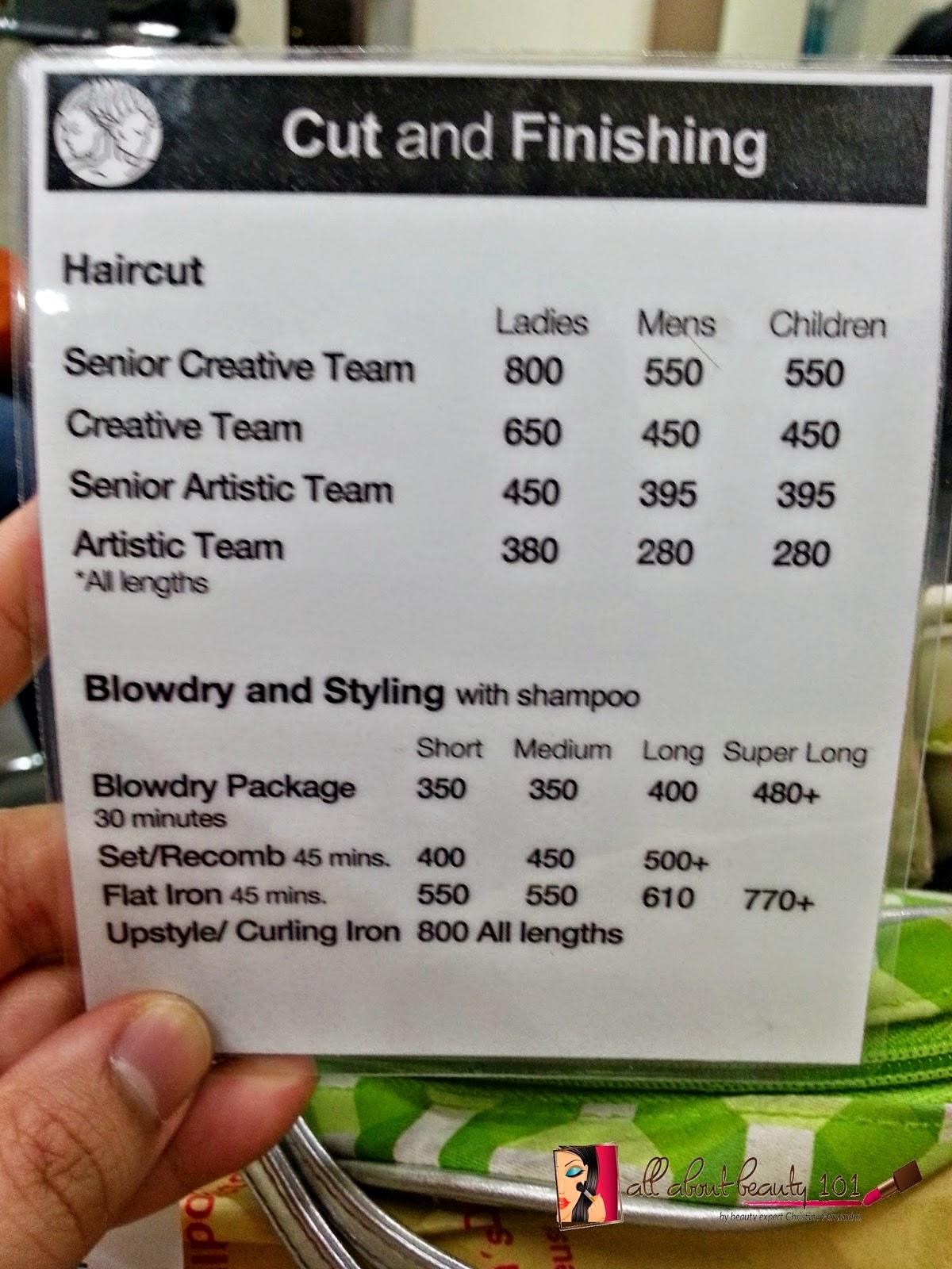 salon de manila hair color price  haircut  price  list ora