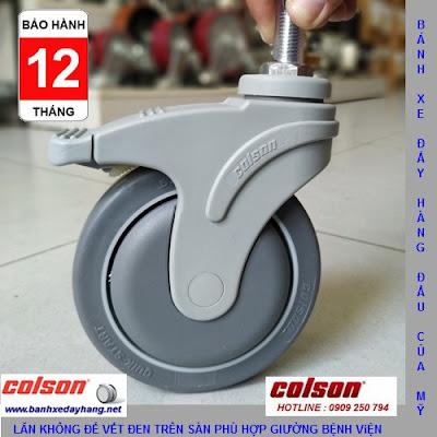 Bánh xe cao su ty ren có khóa Colson Mỹ phi 125 | STO-5854-448B RK4 www.banhxeday.xyz