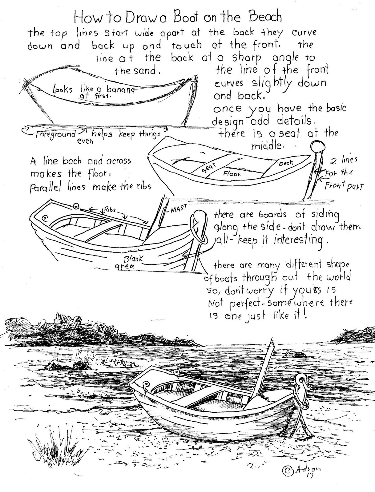 Worksheets How To Draw Worksheets how to draw worksheets for the young artist boat on a beach worksheet