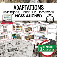 Adaptations, LIFE SCIENCE Warm Ups & Bell Ringers, LIFE SCIENCE Use Ticket Out, Homework NGSS 6-8 Science, Print and Digital