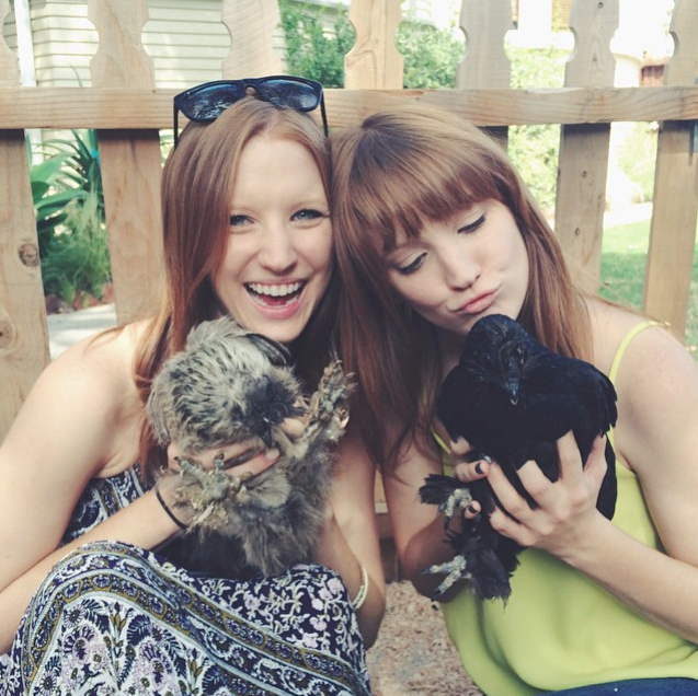 Red-head twins holding chickens at petting zoo