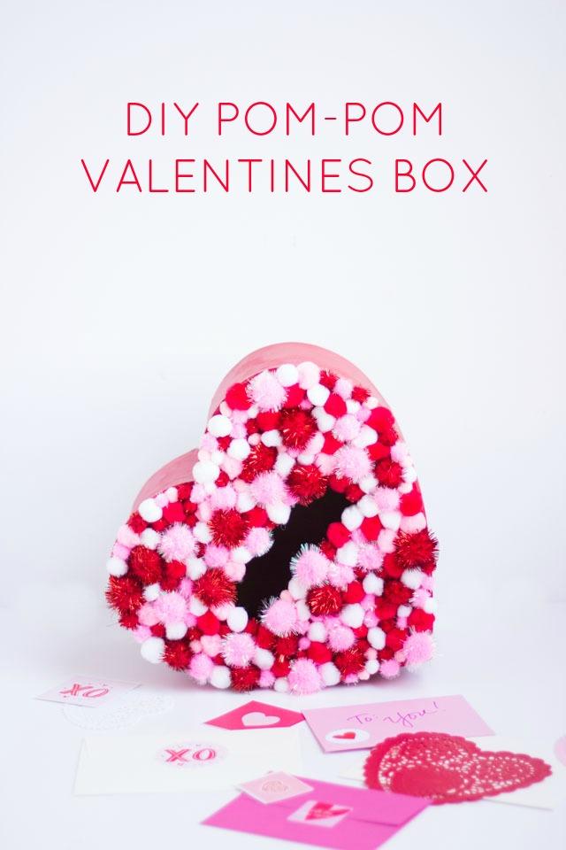 Diy Pom Pom Valentines Box Design Improvised