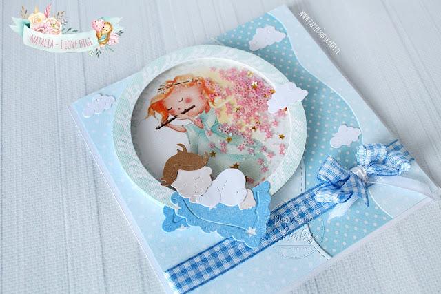 kartka scrapbooking shaker box i love digi handmade rękodzieło dzidziuś chrzest świętu z okazji chrztu narodziny gratulacje dla rodziców grzechotka aniołek chłopczyk dla chłopczyka