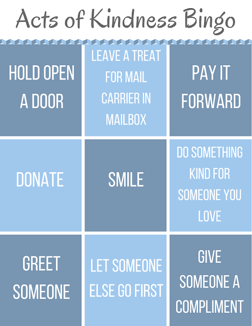Are you looking for some ways to celebrate simple acts of kindness? Play some acts of kindness bingo! Standard bingo rules apply.