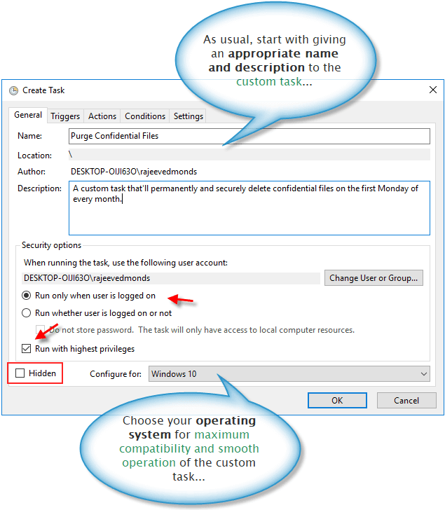 General task settings in Windows 10 task scheduler