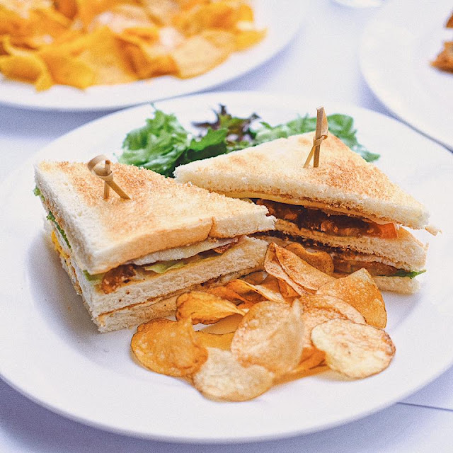 Club Sandwich with Bacon and Grilled Chicken