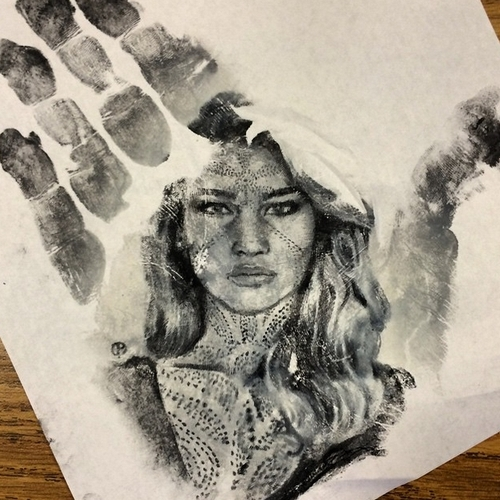 08-Jennifer-Lawrence-Russell-Powell-Hand-Body-Painting-Transferred-to-Paper-www-designstack-co