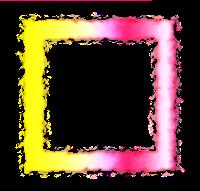 Moldura quadrada rosa amarela - criação Blog PNG-Free