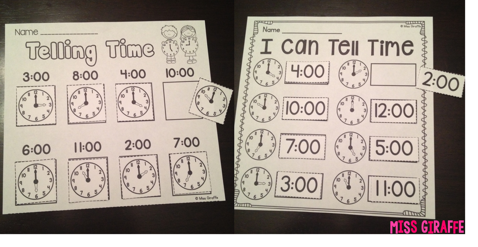 Miss Giraffe's Class: Telling Time in First Grade [ 827 x 1600 Pixel ]