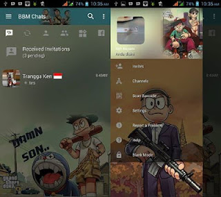 BBM Mod Tema Doraemon GTA v3.3.0.16 Full Display free Download