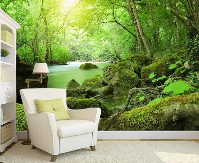 tapet skog grön fototapet regnskog djungel 3d fondtapet landskap