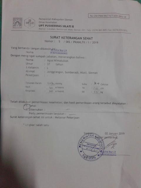 Contoh Surat Keterangan Dokter / Sehat untuk Melamar Pekerjaan, CPNS dll