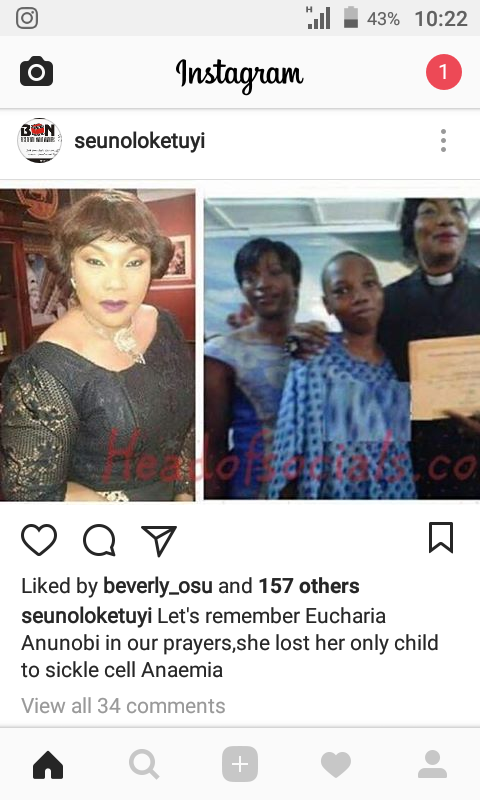 OMG!! Evang/Actress Eucharia Anunobi Reportedly  Loses Only Child To Sickle Cell Anaemia