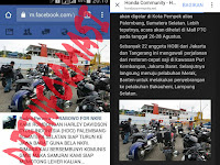 Hoax Rombongan Harley Davidson Cycle Indonesia di Palembang turun ke Jawa Barat untuk menantang GMBI