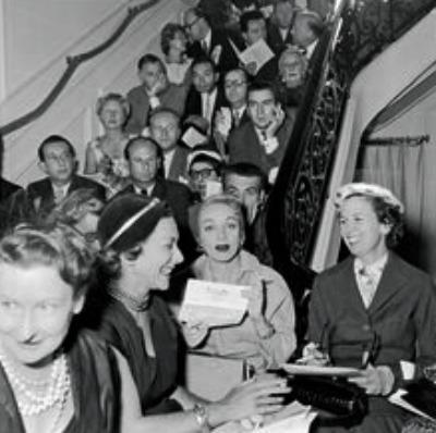 Marlene Dietrich at Christian Dior 1947 Fashion Show