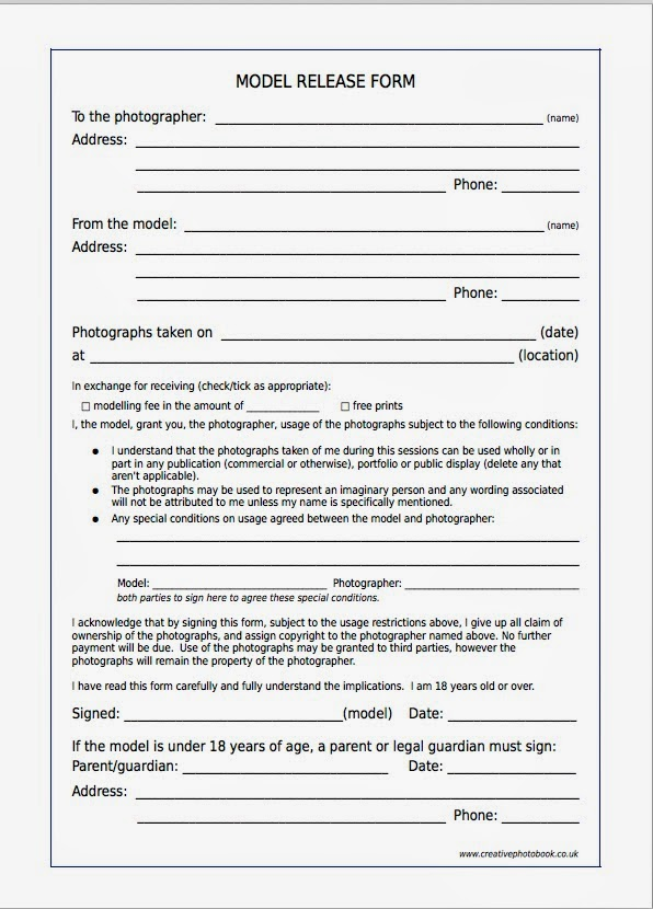 Model Release Form Model Release Form For Photographers Photography - Talent Release Form Template