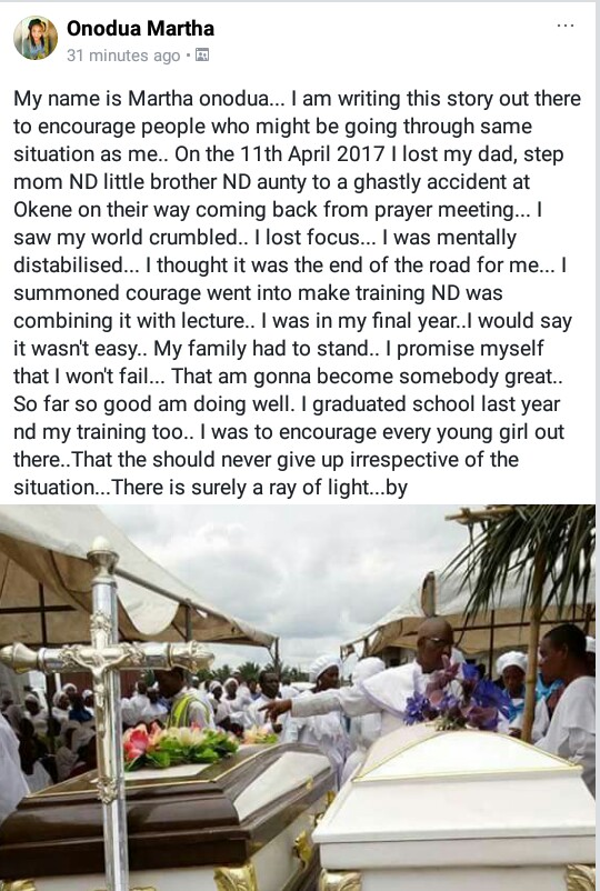 """I saw my world crumble"" - Brave Nigerian lady recalls how her family members died in tragic accident on their way home from prayer meeting"