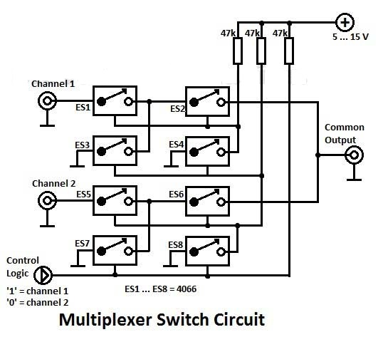 multiplexer switch with 4066 circuit diagram