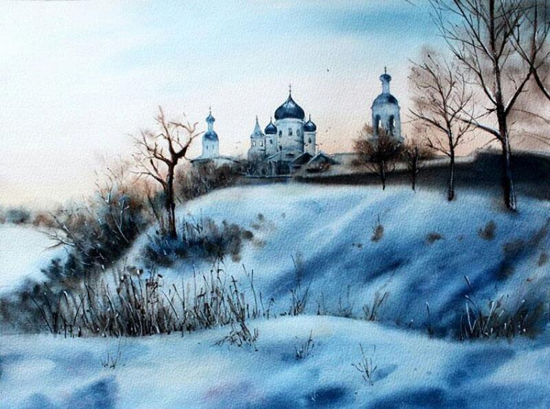 lukisan pemandangan masjid