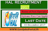 Hindustan Aeronautics Limited Recruitment 2017– 11 Operator