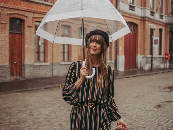 Outfit: stripes and beret in the rain