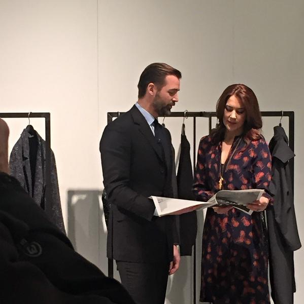 Crown Princess Mary sported Ole Yde's black and white checked jacket from his spring-summer 2015 collection.
