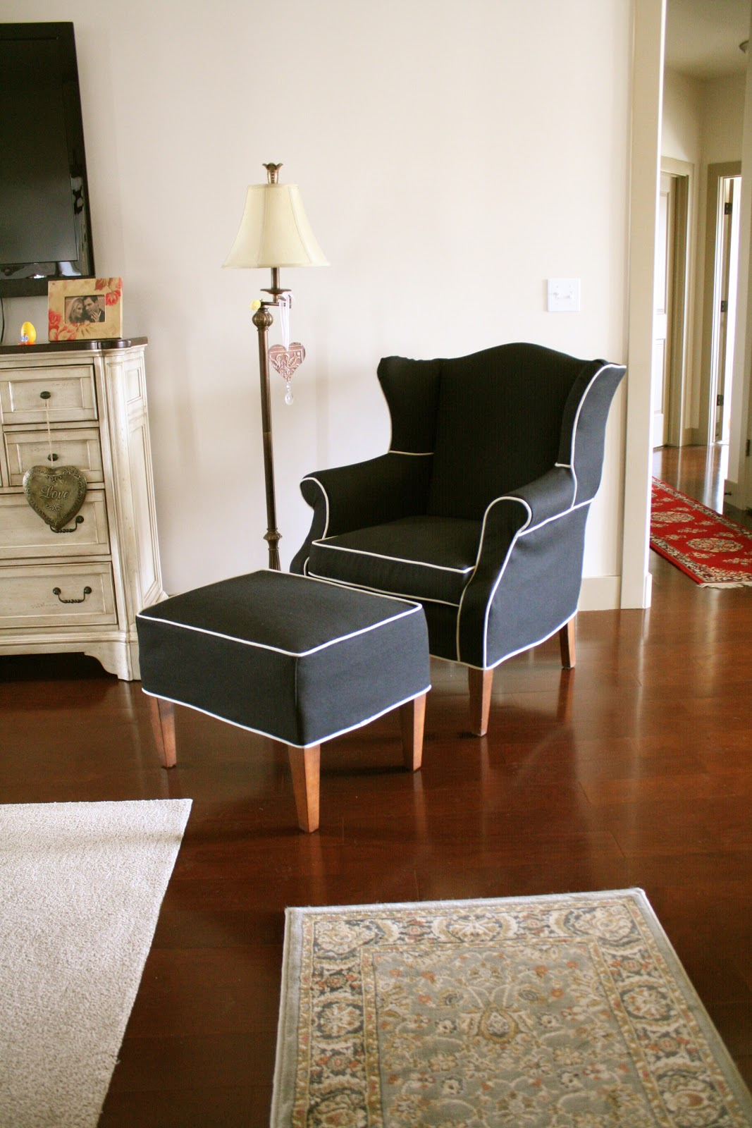Black Wingback Chair Covers Invacare Transport Custom Slipcovers By Shelley And Ottoman