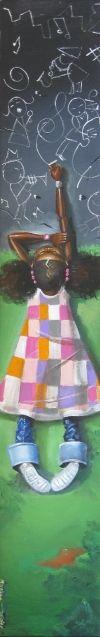 peinture de Frank Morrison, fillette qui dessine la musique de la vie