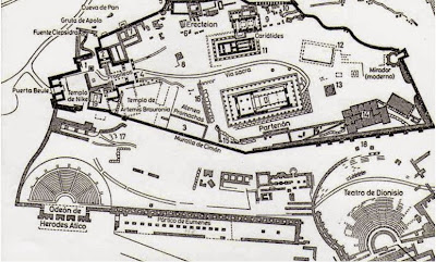 Map of the Acropolis of Athens