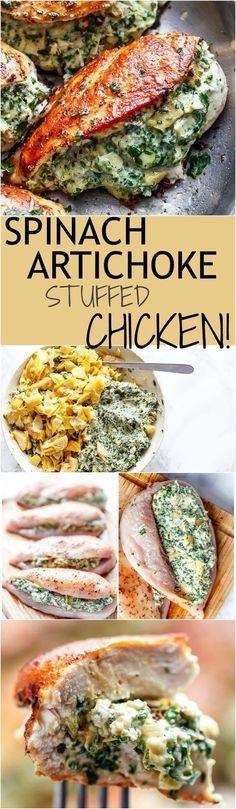 Healthy Spinach Artichoke Stuffed Chicken