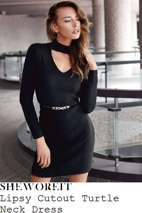 ferne-mccann-lipsy-black-and-gold-long-sleeve-high-turtleneck-cut-out-waist-belt-detail-bodycon-knit-jumper-mini-dress
