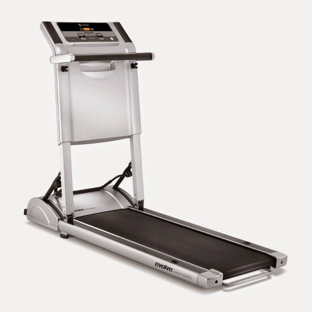 "Horizon Evolve SG Compact Folding Treadmill, review, running deck 17"" x 45"", speeds 1-6 mph, 1.5 chp motor, folds down to 10"" high, 2 programs, manual and weight loss, LCD console display shows workout stats"
