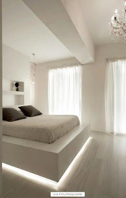 cama de casal com iluminação